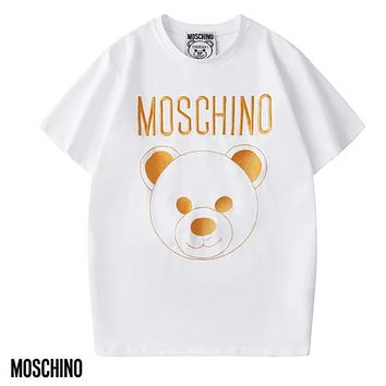 Moschino New fashion embroidery letter bear couple top t-shirt White