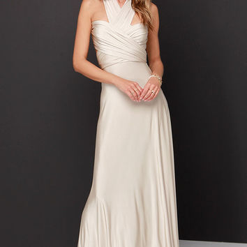 Always Stunning Convertible Beige Maxi Dress