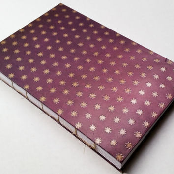 Gold star purple journal 80 blank pages with gold thread 5 1/2 X 8 1/2