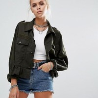 Milk It | Milk It Vintage Cropped Military Jacket With Frill Hem at ASOS