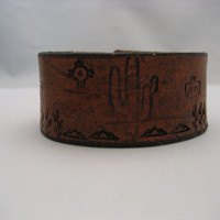 Southwestern Leather Bracelet Brown Leather Cuff Real Leather Saguaro Cactus Bracelet Hand Tooled Snap on Leather Jewelry