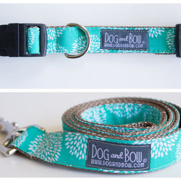 Teal Floral Dog Collar with Optional Leash by Dog and Bow