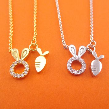Bunny Rabbit and Carrot Charm Necklace in Gold or Silver
