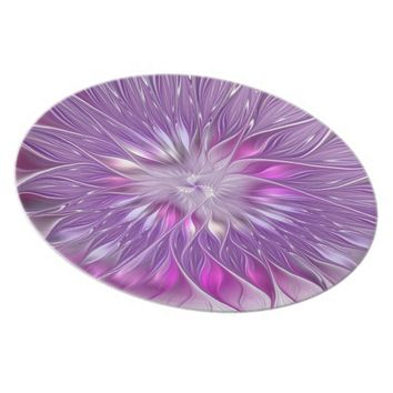 Pink Flower Passion Abstract Fractal Art Dinner Plate
