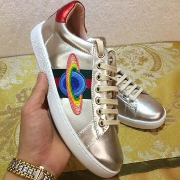 GUCCI 2018 summer new wild flat bottom shoes sneakers F-OMDP-GD gold