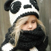 2017 children hand knitted hat scarf set new autumn and winter warm cartoon panda hat 171123