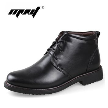 Genuine Leather Men Boots, Handmade Super Warm Men Winter Shoes,High Quality Ankle Boo