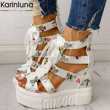 INS Hot Print Leisure Wedges women's Shoes 2019 Summer Sandals Platform Shoelaces High Heels Casual Shoes Woman