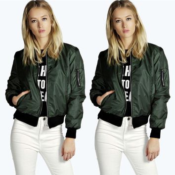 GZHOUSE Womens Padded Bomber Jacket Zip Up Biker Coat
