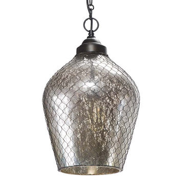 Regina Andrew Glass and Wire Cage Pendent Chandelier - 44-8077