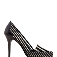 Toga Women's Striped Velvet Heels