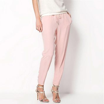 Hot Sale Casual Women Chiffon Pants Elastic Waist Solid Color Office OL Pants Summer Slim Lady Pants