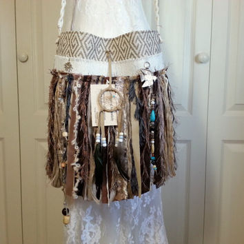 Native American Inspired Fringe Bag  - Navajo Dream Catcher - Bohemian Gypsy Fringe Bag - Hippie Bag - Cross Body Bag