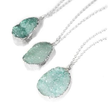 Pastel Turquoise Crystal Druzy Necklace