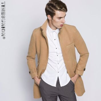 Wool Trench Coat Men 2017 Fashion Mens Warm Cashmere Long Overcoat Winter Casual Jackets Duffle Trench Coat Men
