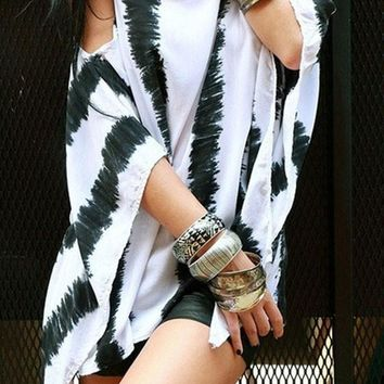 White Striped Irregular Cut Out Off-Shoulder Spaghetti Straps Casual Oversized T-shirt