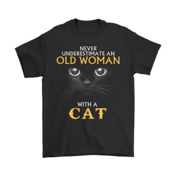 ESB8HB Never Underestimate An Old Woman With A Cat Shirts