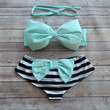 Bow Bandeau Bikini - Cheeky Boy Short Style Swimwear -  With Bow on Butt  - Stunning Mint  with Stripes - Unique & So Cute!