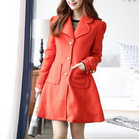Red Long Sleeve Coat with Pockets