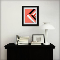 Abstract art print. Geometric print from original geometric painting with coral, black, and white.