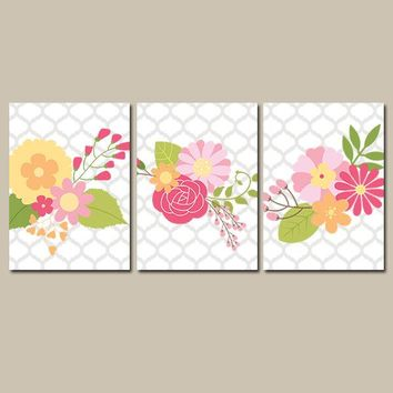Baby Girl Nursery Wall Art, CANVAS or Prints Garden Flower Wall Art, Girl Nursery Quatrefoil Wedding Bouquet Set of 3 Decor Bedroom Bathroom