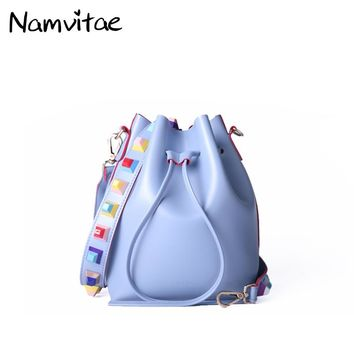 2017 New Fashion Women Small Crossbody Bucket Bags Colorful Rivet Strap Women Shoulder Bag Soft PU leather String Bags for Girls