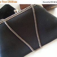 On Sale 1960's Retro Old Hollywood Glam Black Clutch Purse * Vintage Rhinestone Purse * Mad Men Mod Black Handbag * Rhinestone Embellishment