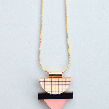 Mini Grid Necklace in Frosted Pink by Nylon Sky
