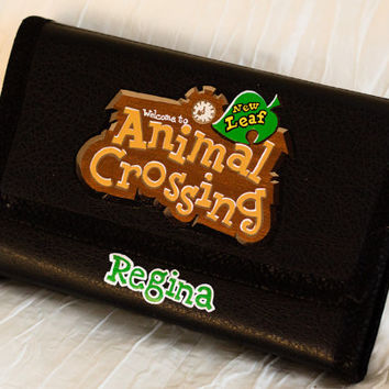 3DS XL 2DS or Vita Personalized Hard Case Hand Painted with Animal Crossing Logo