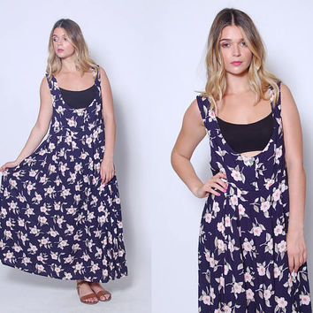 Vintage 90s FLORAL Jumper Blue Printed MAXI Dress Grunge Floral Dress Tent Dress