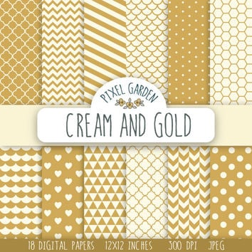 SALE -50% OFF. Cream and Gold Digital Paper Pack. Quatrefoil Scrapbooking Paper. Polka Dot Digital Clip Art, Chevron and Honeycomb Pattern.