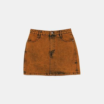 WASHED EFFECT MINI SKIRT