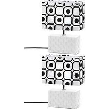 Set of 2 Modern Black And White Shapes Table Lamps
