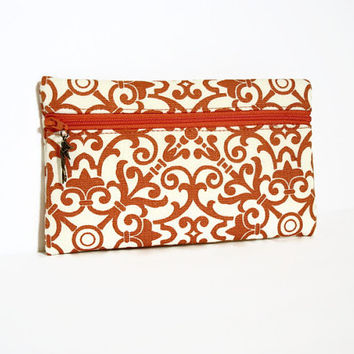 Orange and Cream Clutch/Wallet,Zippered Makeup Clutch,Zippered Wallet,Orange Cream Wallet,Orange Zip Clutch