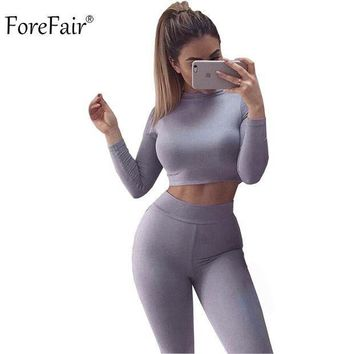 ESB78W ForeFair Black Grey Khaki 2 Piece Bodycon Jumpsuit Long Sleeve Crop Top Pants Style Sexy Bodysuit Cotton Fitness Playsuit