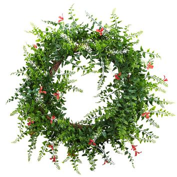 Silk Flowers -18 Inch Floral And Fern Double Ring Wreath With Twig Base