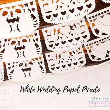Mexican Wedding Decor, 5 Pack Banners, White Mexican Banner 50 Feet Long, Tissue paper Engagement Banner, Papel picado bridal shower ws400