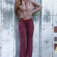 Berry Sweet Light Acid Wash Burgundy Drawstring Bell Bottoms