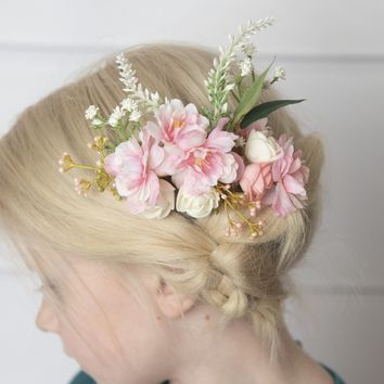Cherry blossom hair comb, Pink flower hair clip -Flower girl hair clip