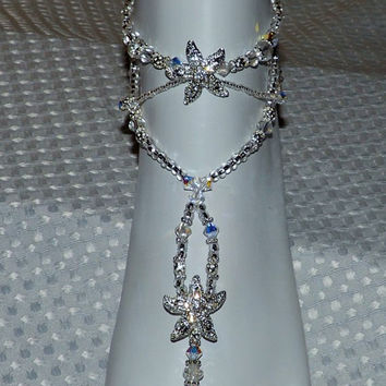 Crystal Beach Wedding Barefoot Sandal Swarovski starfish Foot Jewelry