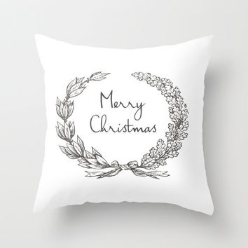 Merry Christmas Throw Pillow Leaf Wreath Victorian Style 16x16 18x18 20x20 Holiday Decor Shabby Chic Home Gift