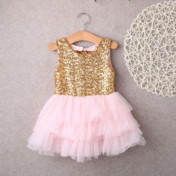 Dresses 2016 New Baby Children Girl Sequins Backless Bow Gold Lace Tulle Ruffled Party Mini Ball Gown Formal Dress Fashion Girl