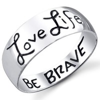 Footnotes Love Life, Be Brave Ring 8 Ring:Amazon:Jewelry