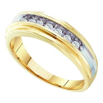 10kt Yellow Two-tone Gold Men's Round Diamond Single Row Wedding Band Ring 1/4 Cttw - FREE Shipping (US/CAN)