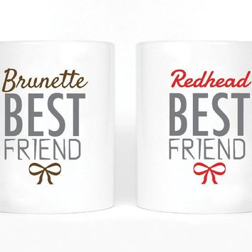 Brunette and Redhead Best Friends Girl BFFS Mugs