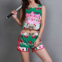 DCCK6HW Adidas' Women Casual Multicolor Floral Butterfly Print Sleeveless Vest Shorts Set Two-Piece Sportswear