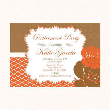 Beautiful Fancy Floral Fall Autumn Retirement Party Invitation. Orange & Purple Retirement Invite.  Saying Goodbye. PDF Invitation for her.