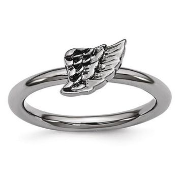 Sterling Silver Stackable Expressions Black Plated Angel Wing Ring