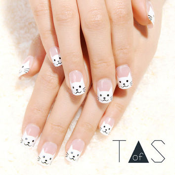 Kitty False Nails / Cat Cartoon Halloween Nails / French Manicure Nails