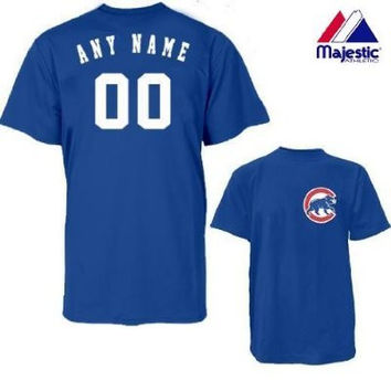 Chicago Cubs Personalized Custom (Add Name & Number) ADULT LARGE 100% Cotton T-Shirt Replica Major League Baseball Jersey